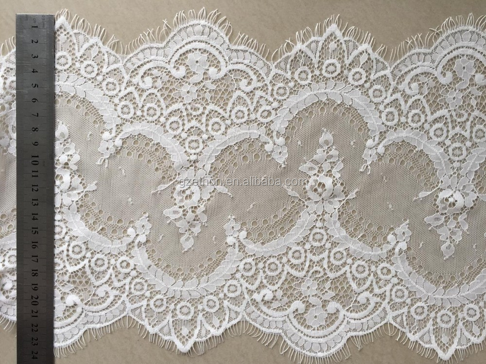 Wholesale 100% nylon voile lace with eyelash for lingerie