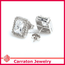 Hot sterling silver 925 wholesale woman rectangle oblong prong setting cubic zirconia stud earrings customized jewelry gift