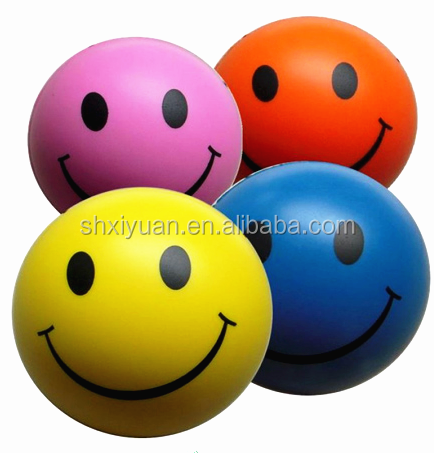 Wholesale kids beach pu smiley ball cute stress ball pu ball