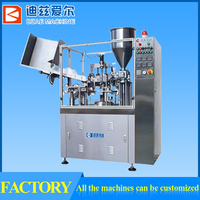Plastic tube filling and sealing machine, filler and sealer