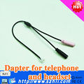 Call Center Headset adapter cable for RJ11 plug to Double 3.5 mm DC plug, OEM RJ11 adaptor cord