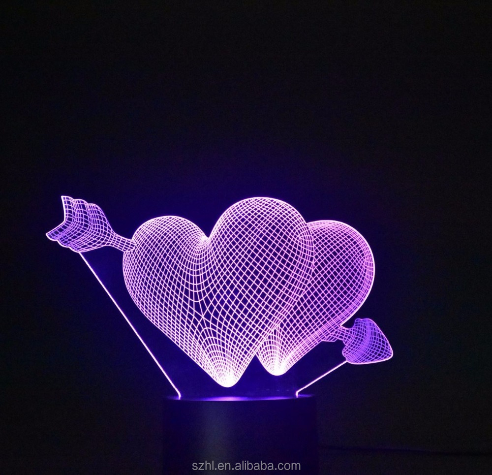 Acrylic heart shape 3D Visual Lamp Flashing Night Light With USB