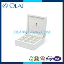 luxury white lacquer wooden tea bag box