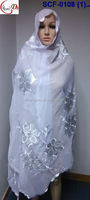 SCF-0108(1) white flower soft scarf embroidered lady long scarf/shawls/wrap/pashmina with rhinestones scarf