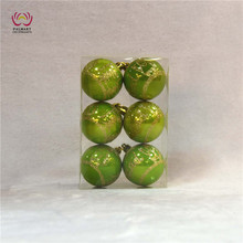 Christmas ornaments 6cm/7cm/8cm hand painted plastic ball green/orange 6pcs/ pvc box factory supply customized available