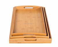 3pcs round bamboo breakfast bed serving tray with handles