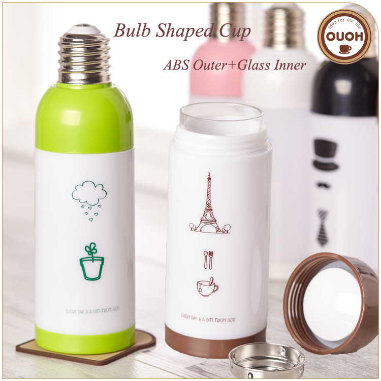 Funny Design Bulb Shaped Insulated Double Wall Borosilicate Glass Tea Coffee Cup Mug