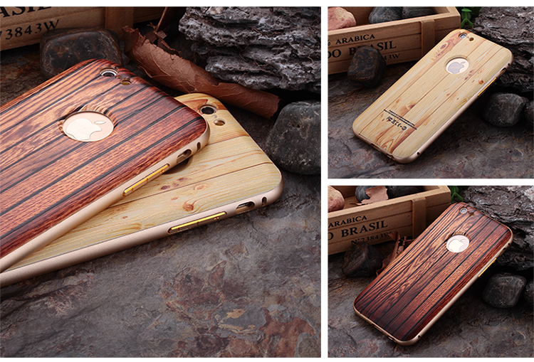 Metal Frame Natural Wooden Wood Back Cover Case For Apple iPhone 5 6 6s Plus