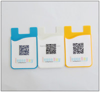 Hot sale 3m sticker smart wallet adhesive phone card holder with screen cleaning pad