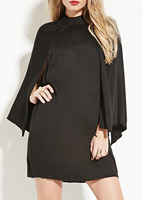 EY1090D Sexy Black Long Sleeve Round Neck Loose dress Backless Women Short dress