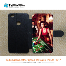 cheap price subliamtion leather cellphone case for P8 Lite 2017
