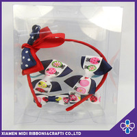 cute printed little children holiday ribbon large bow headband and hair holder wholesale