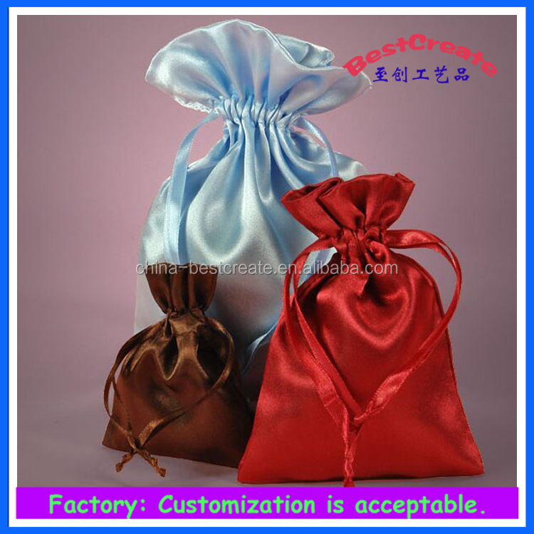 Custom printing blue 15x12inches Large Drawstring satin Dust Cover bags