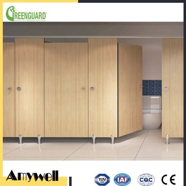 Amywell wholesale price wooden color 12mm compact laminate board used toilet partition cubicle