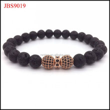 Fashion 8MM lava stone CZ bali ball beads men bracelet