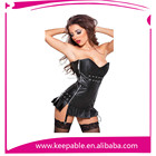 Hot Sale Faux Stretch Leather Zipper Front Black Lace Up Corset For Hot Girl