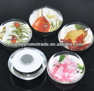 Factory Directly Selling Promotional Gift magnetic glass button fridge magent