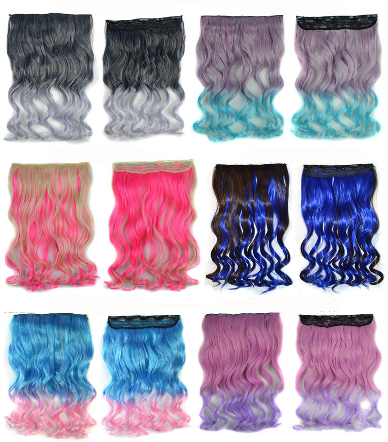 Ombre colour Top sell Gradient Color Hair Wigs five Clips curly Hair Wig 115g