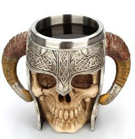 Factory custom Gothic Helmet Knight Mug Skull Mug Viking Ram Lord Warrior Horn Goat Coffee Tea cup Drinkware