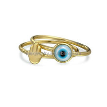 Gold Plated 925 Silver Evil Eye Hamsa Hand of God Mother of Pearl Midi Ring Set