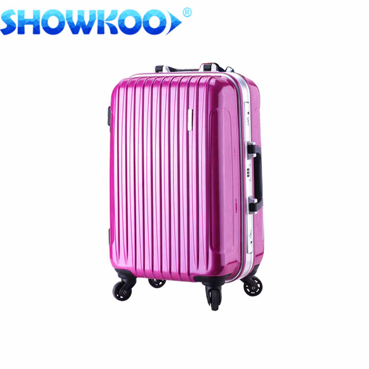 Spinner wheels polycarbonate hard hotel stripe Aluminum frame Luggage