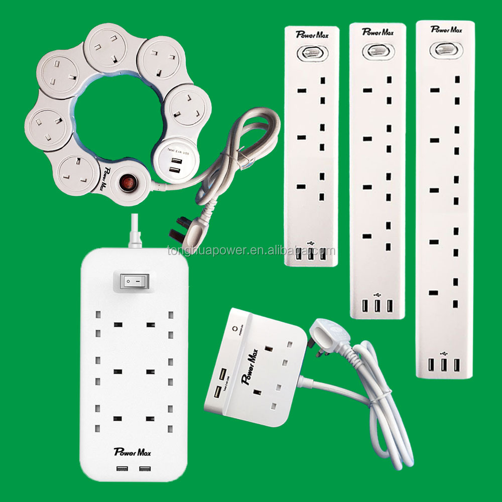 BS plug Electric socket 6 ways uk type power extension lead 8 outlet 2USB smart socket