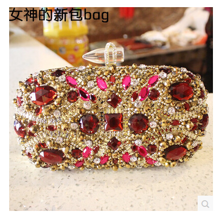 2016 fashion indian fancy women crystal stone evening bag beaded night party gift bags