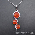 New Designs Indian Touch Resin Amber Gemstone Silver Pendant DR032719P