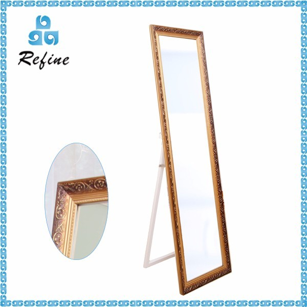 Gold Rectangle Cheval Full Size Floor Mirror Stand