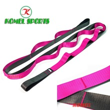 Amazon Hot Selling Stretching Out Strap With 12 Handling Loops,96inch x 1.5inch / Pink Nylon Shiny Strap