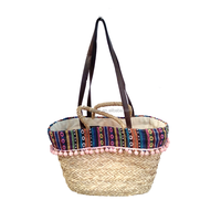 Shoulder cotton ball handmade natural seagrass handbags woven straw shopping bag