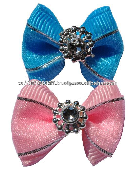 Satin Jewelled Hair Bows for dogs - 100 pcs canister