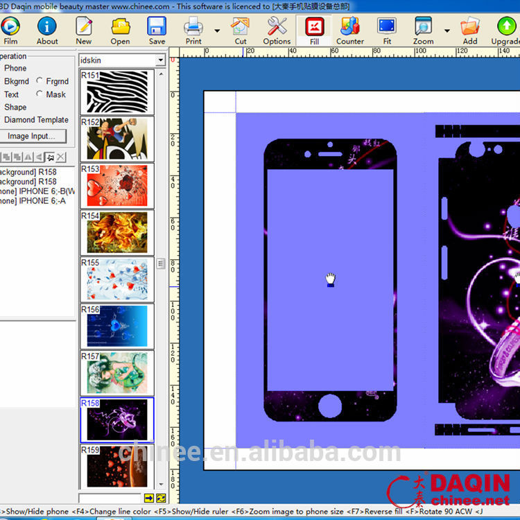 New market for mobile skin cutting software with phone templates