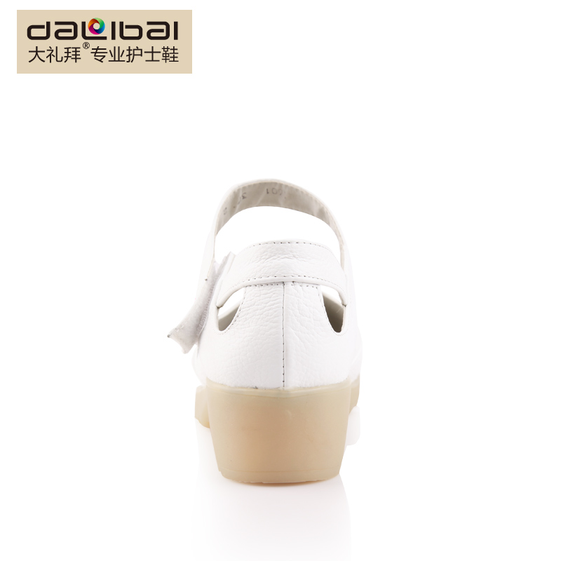 China factory wholesale oem strap genuine plain white leather nurse shoes