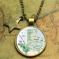 Map of Texas Necklace Travel Pendant necklace Austin Texas United States Glass Photo Cabochon Necklace
