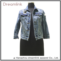 Ladies custom jacket light blue jean jacket for custom