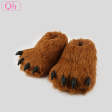 Winter house warm animal foot monster claw plush slippers for adults