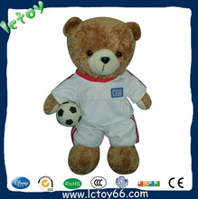 customized OEM design plush football player toys with white and red ball uniform