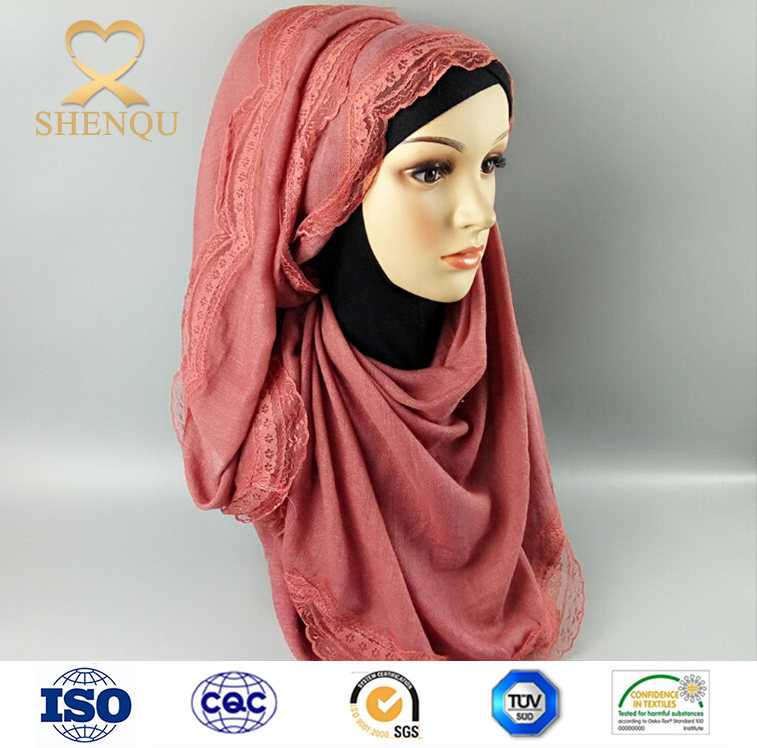 Fashion Hijab Cotton Scarf Colorful Scarves muslim Lace arab scarf hijab wholesale
