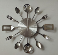fork and knife metal decorative wall clock for kitchen