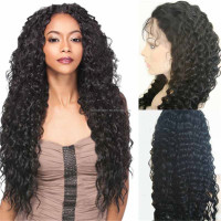 130%density 26inch Long Brazilian Virgin Human Hair Deep Curl Cheap Ponytail Lace Front Wig with Natural Hairline