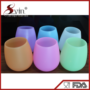Wholesale custom colored silicone wine glasses for outdoors