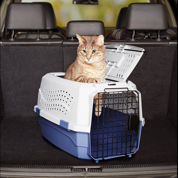 two door top load pet kennel travel crate dog cat pet cage carrier box tray