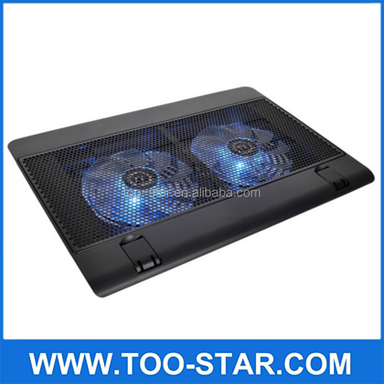 "Notebook cooling pad Blue LED Laptop Cooler 5 Fans 2 USB Port Stand Pad for Laptop 10-17"" PC usb cooler for notebook"