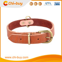Padded Leather Pet Collar Yellow Leather Dog Collar