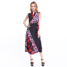 OEM apparel women clothing 2017 latest design elegant clothes waist tight flare floral print women dress summer 2017