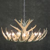 6 Lights Fixtures Rustic Pendant Lamp Resin Deer Antler Chandelier