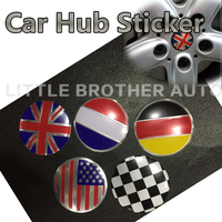 4Pcs National Flag Aluminum Alloy Car Wheel Center Hub Caps Sticker Emblem