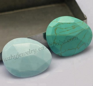Wuzhou pear cut natural gemstone green turquoise for necklace making