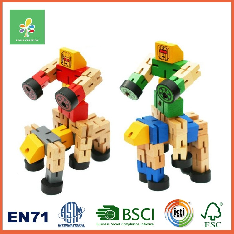Wooden Cube Puzzle Twisting Robot Made from Wooden Cubes and Elastic